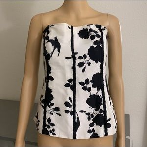 WHBM Strapless Bustier Lined Silk Top, Size 12